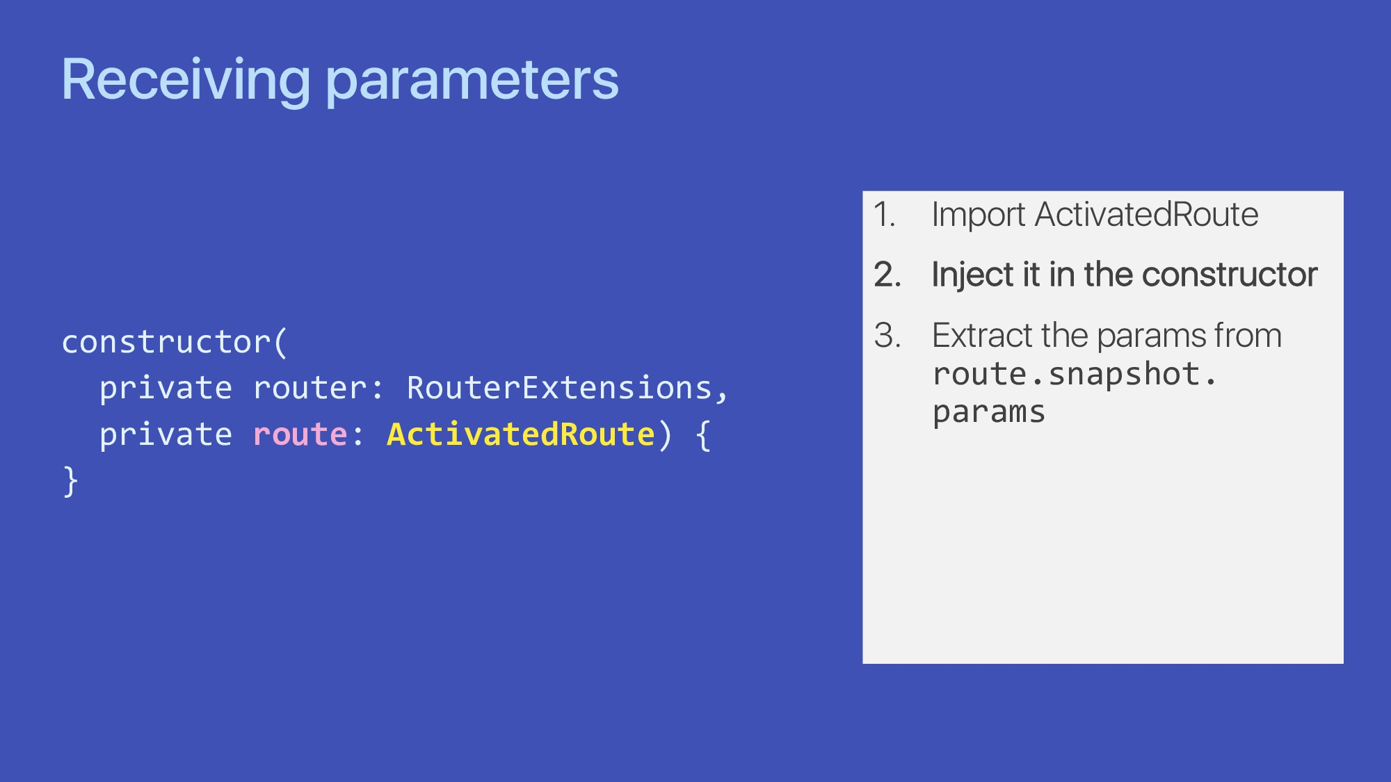 Receiving parameters constructor( private route...