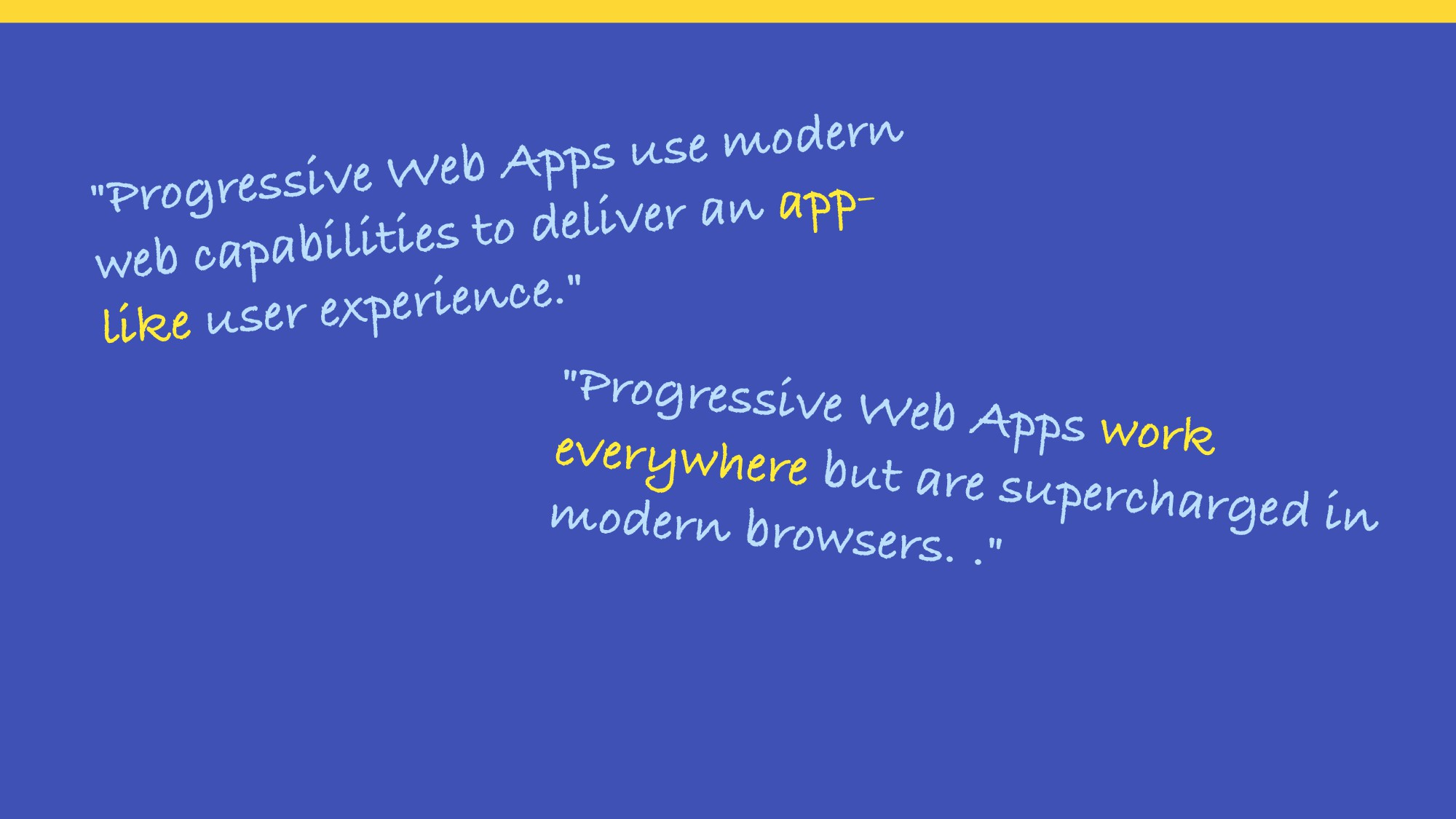 """Progressive Web Apps use modern web capabiliti..."