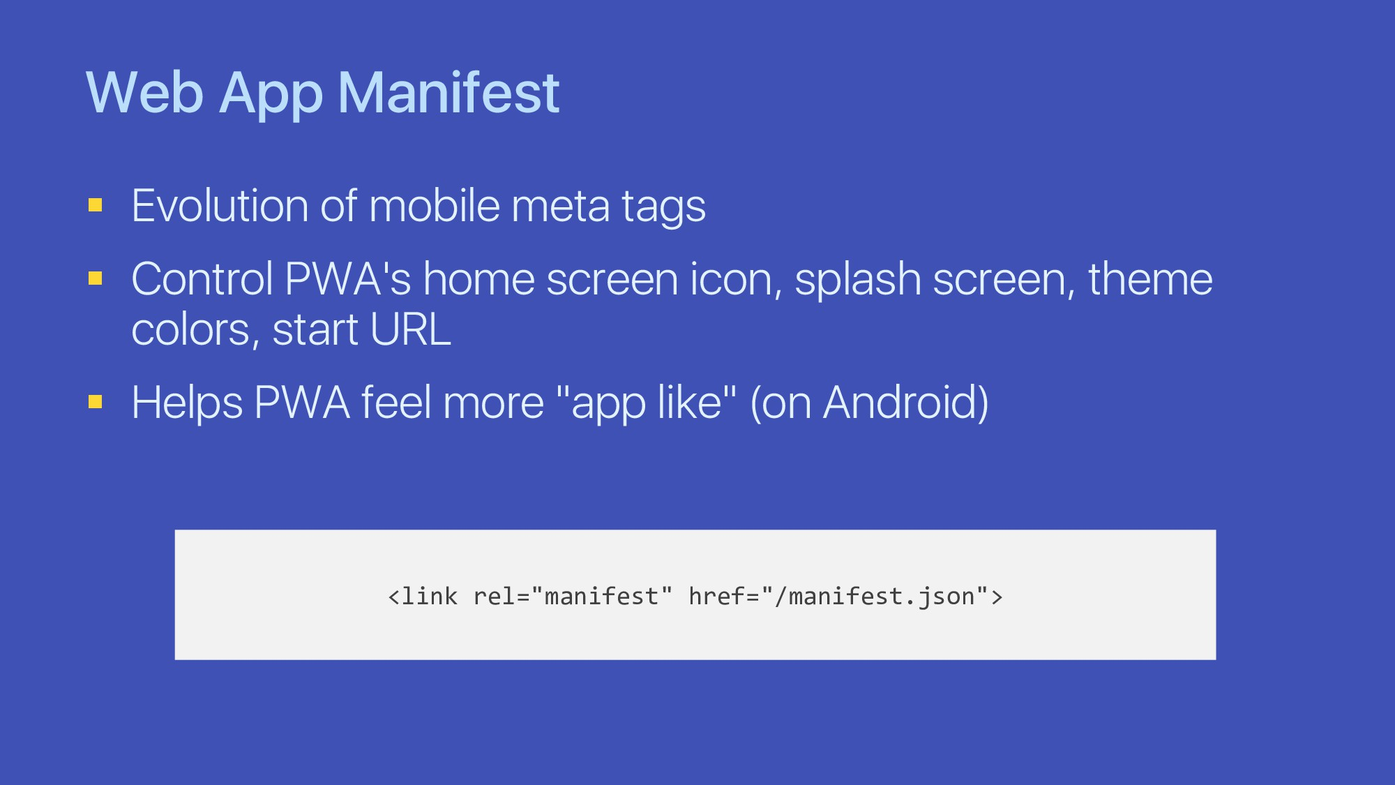 Web App Manifest § Evolution of mobile meta tag...