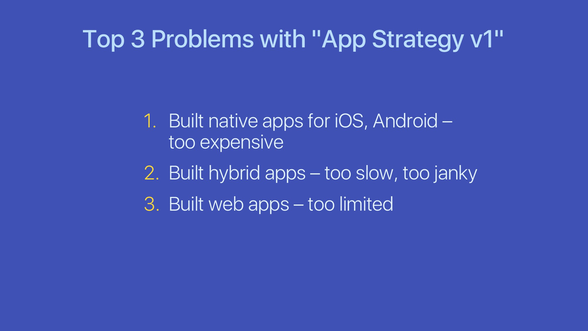 "Top 3 Problems with ""App Strategy v1"" 1. Built ..."