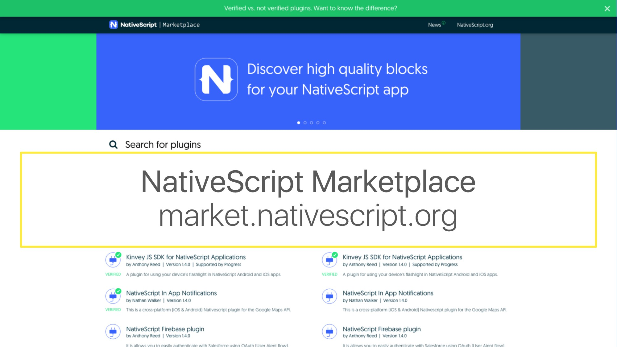 NativeScript Marketplace market.nativescript.org