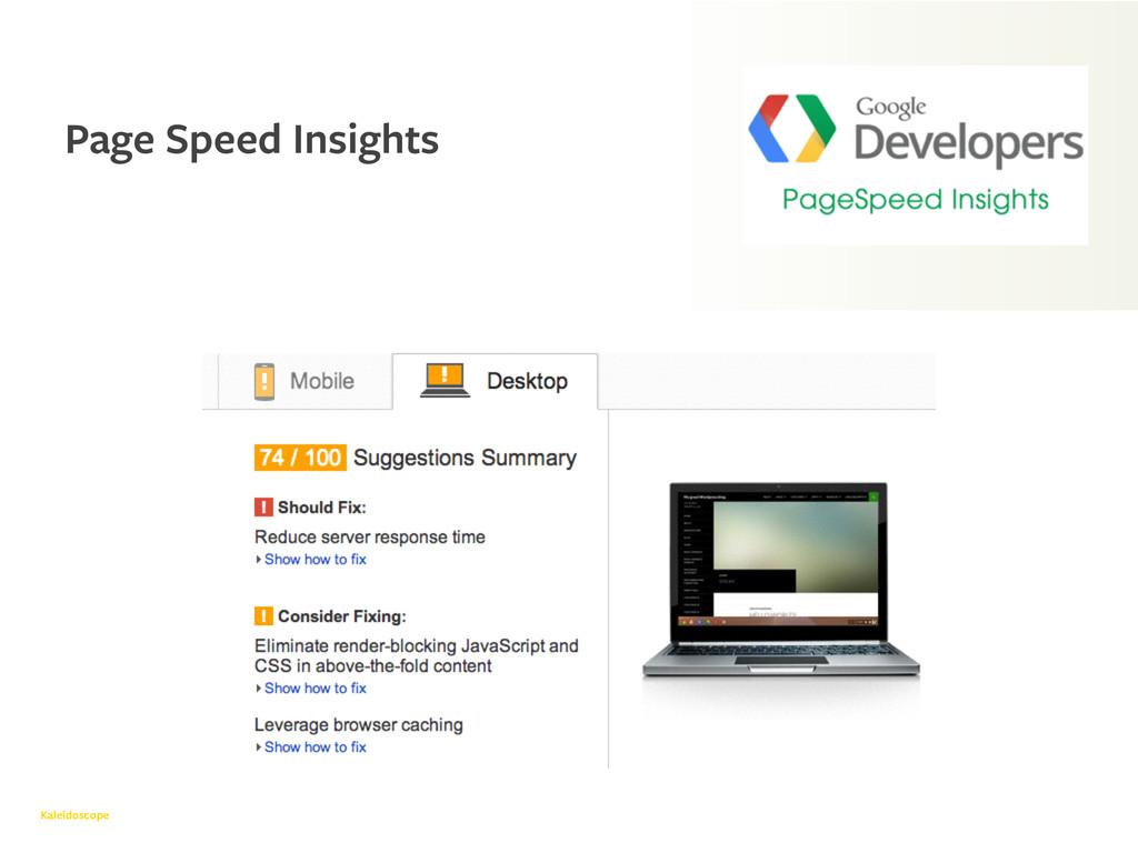 Kaleidoscope Page Speed Insights