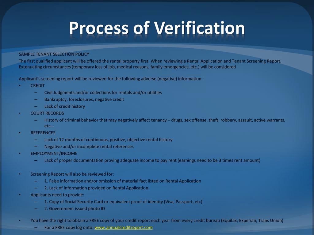 Process of Verification SAMPLE TENANT SELECTION...