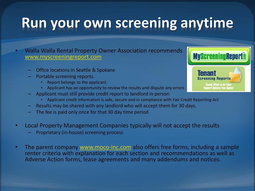 Run your own screening anytime • Walla Walla Re...