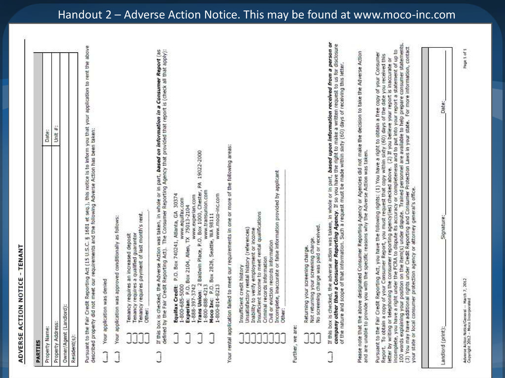 Handout 2 – Adverse Action Notice. This may be ...