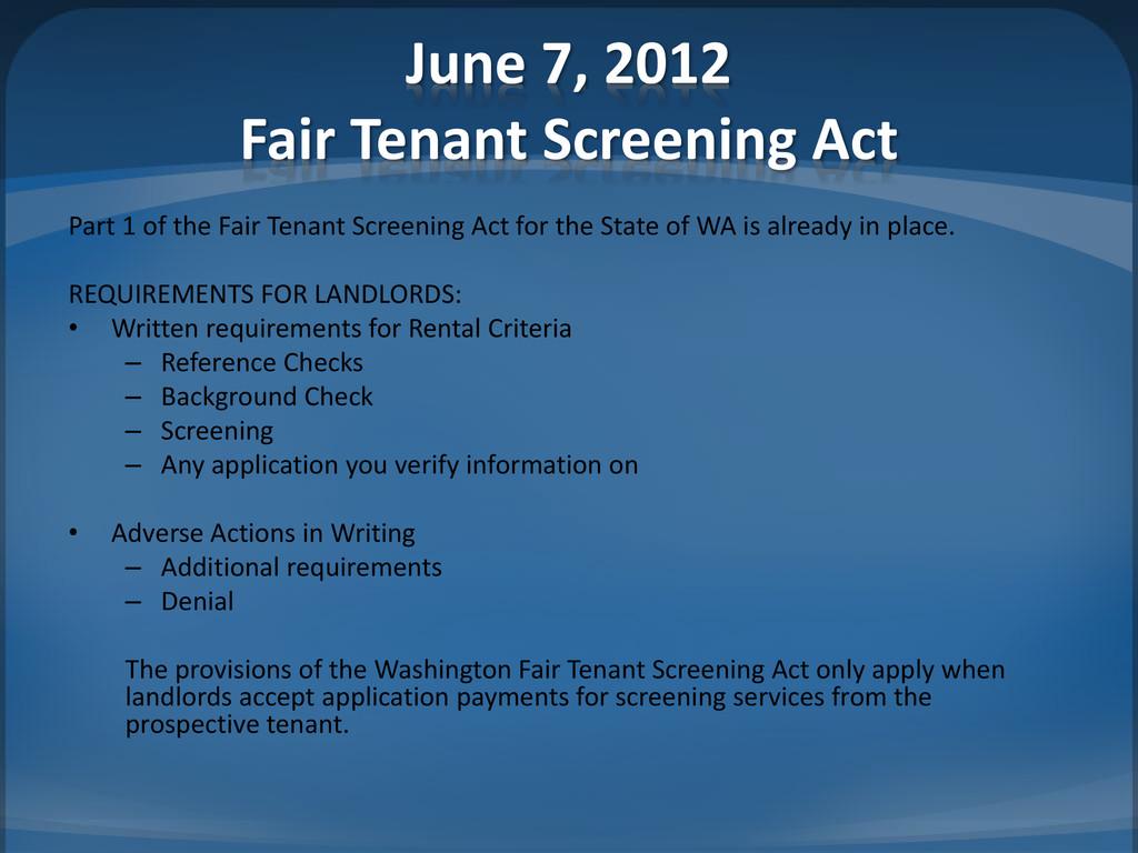 June 7, 2012 Fair Tenant Screening Act Part 1 o...