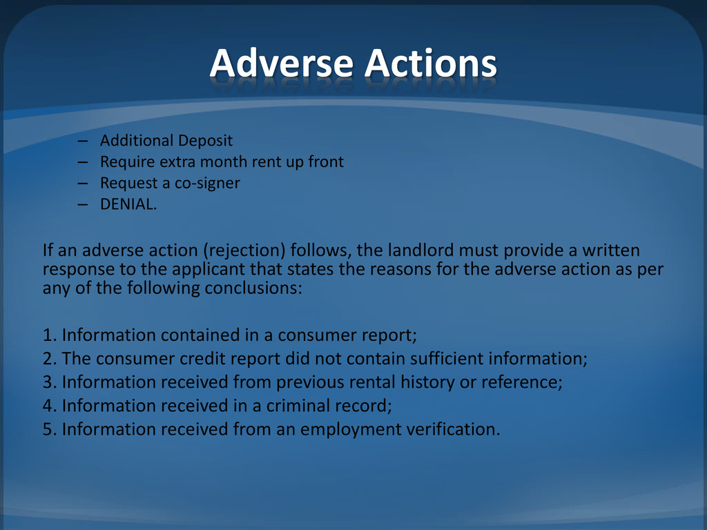Adverse Actions – Additional Deposit – Require ...