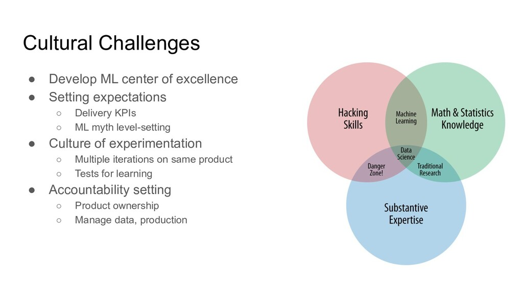 Cultural Challenges ● Develop ML center of exce...