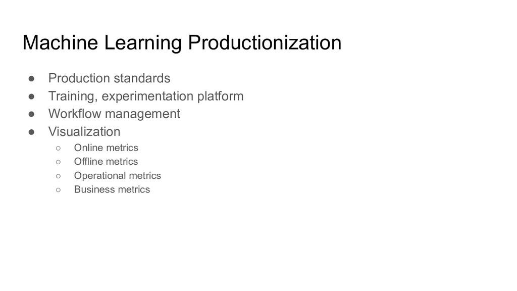 Machine Learning Productionization ● Production...