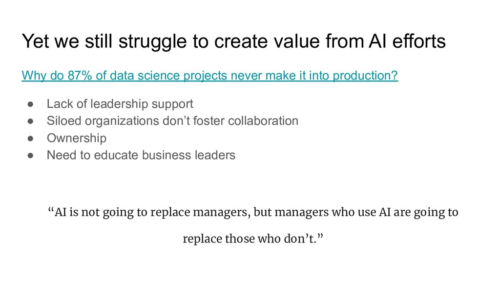 Yet we still struggle to create value from AI e...