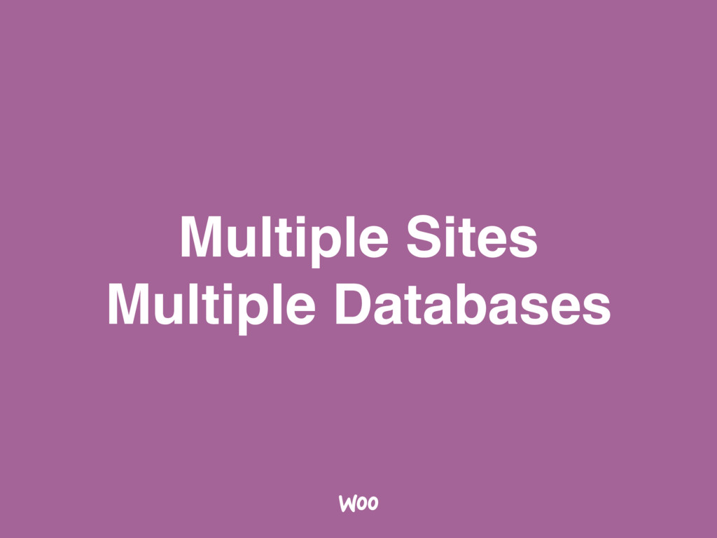 Multiple Sites Multiple Databases