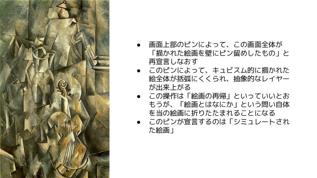 ● 画面上部のピンによって、 の画面全体 「描 れた絵画を壁にピン留めしたもの」と 再宣言しな...