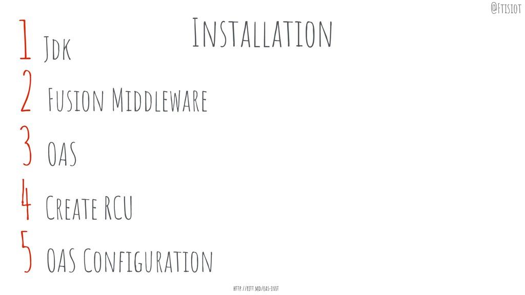 1 Jdk Installation 3 OAS 4 Create RCU 5 OAS Con...