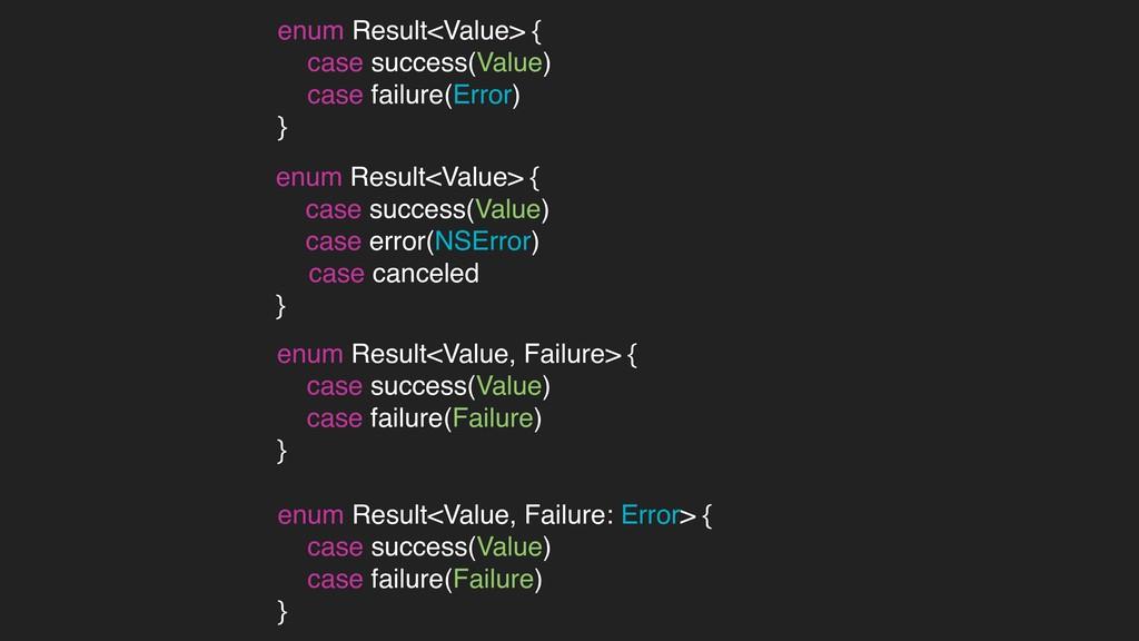 enum Result<Value, Failure: Error> { case succe...