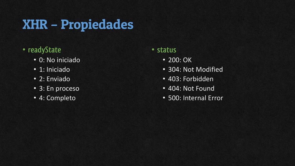 XHR – Propiedades • readyState • 0: No iniciado...