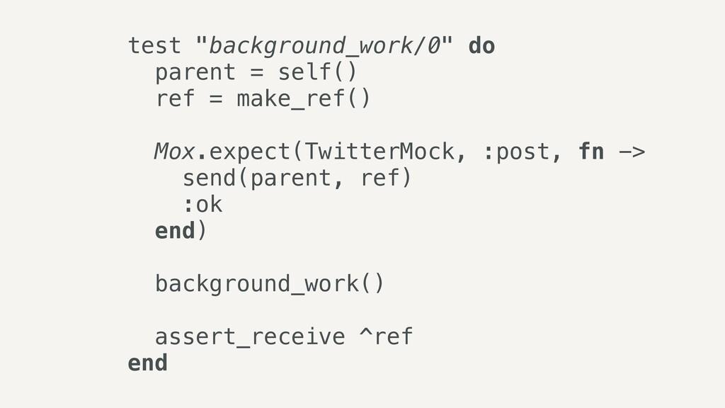 "test ""background_work/0"" do   parent = self()  ..."