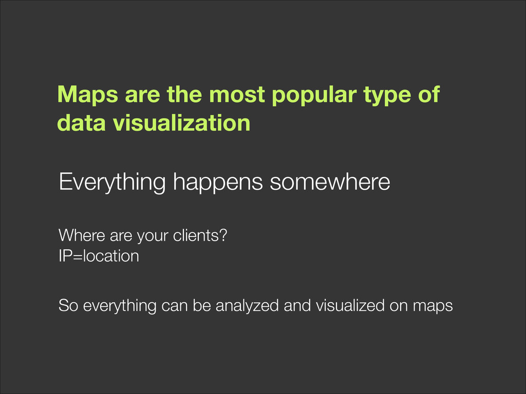 Maps are the most popular type of data visualiz...