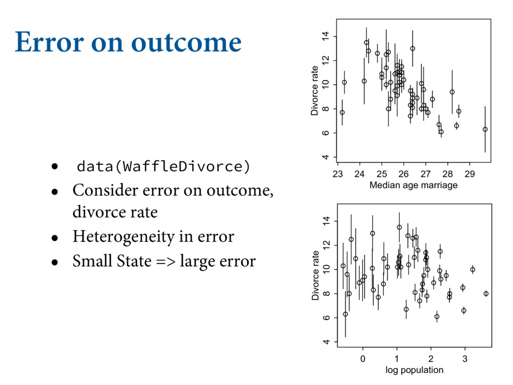 Error on outcome • data(WaffleDivorce) • Consid...