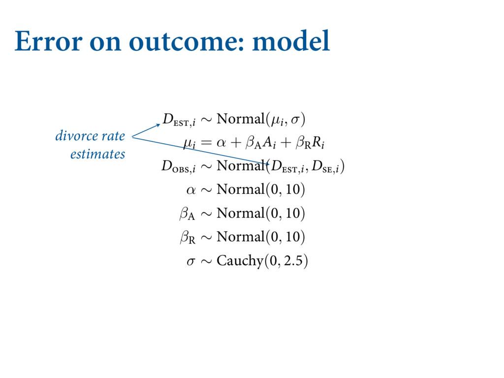 Error on outcome: model divorce rate estimates ...