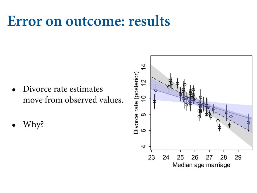 Error on outcome: results • Divorce rate estima...