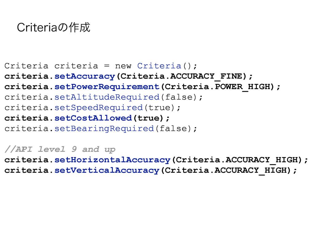 $SJUFSJBͷ࡞ Criteria criteria = new Criteria();...