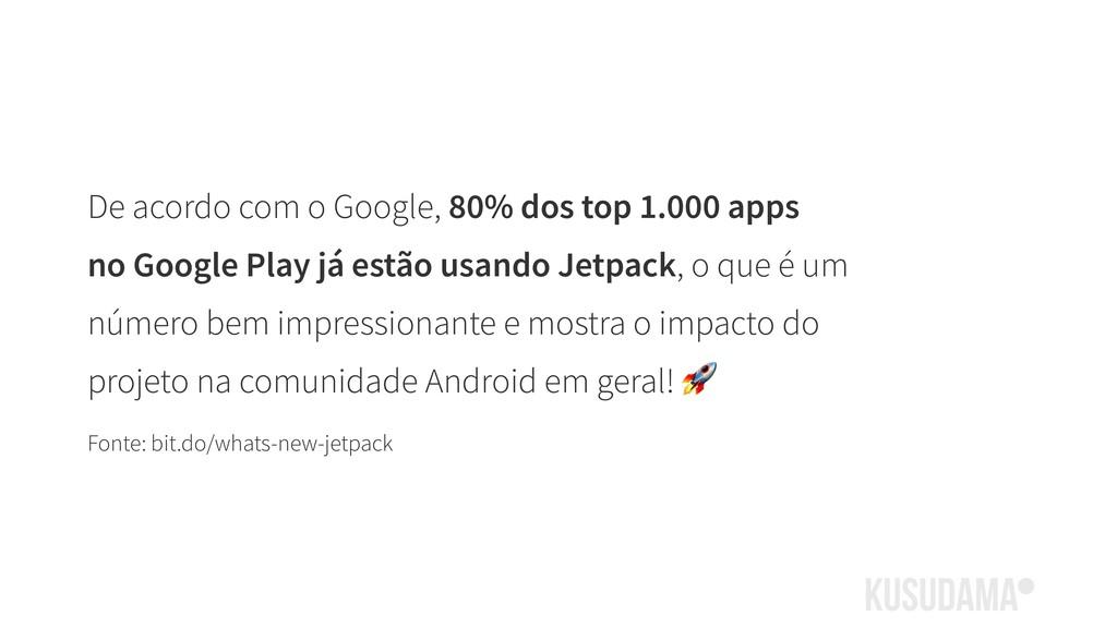 De acordo com o Google, 80% dos top 1.000 apps ...