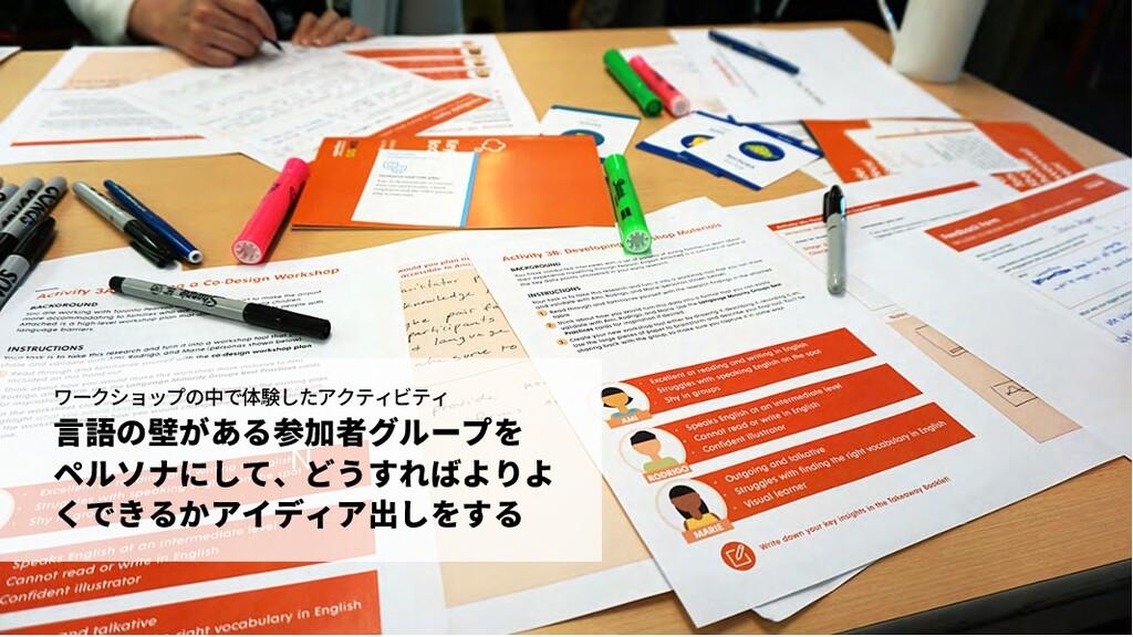 N ワークショップの中で体験したアクティビティ ⾔語の壁がある参加者グループを ペルソナにして...