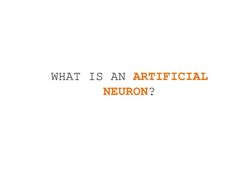 WHAT IS AN ARTIFICIAL NEURON?