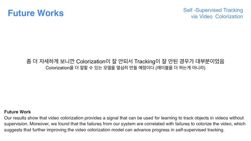 Future Works Self -Supervised Tracking  via Vi...