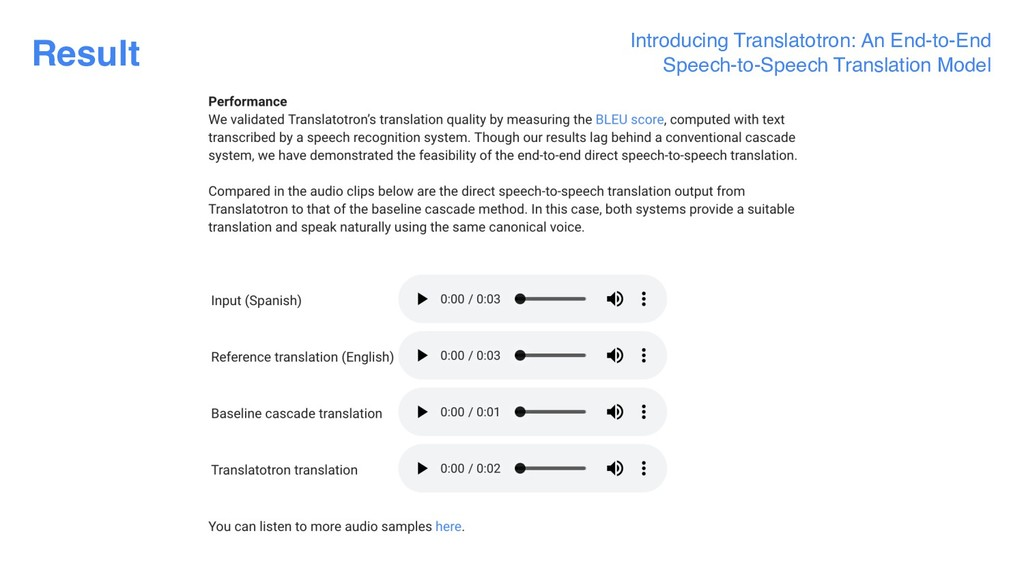 Result Introducing Translatotron: An End-to-End...