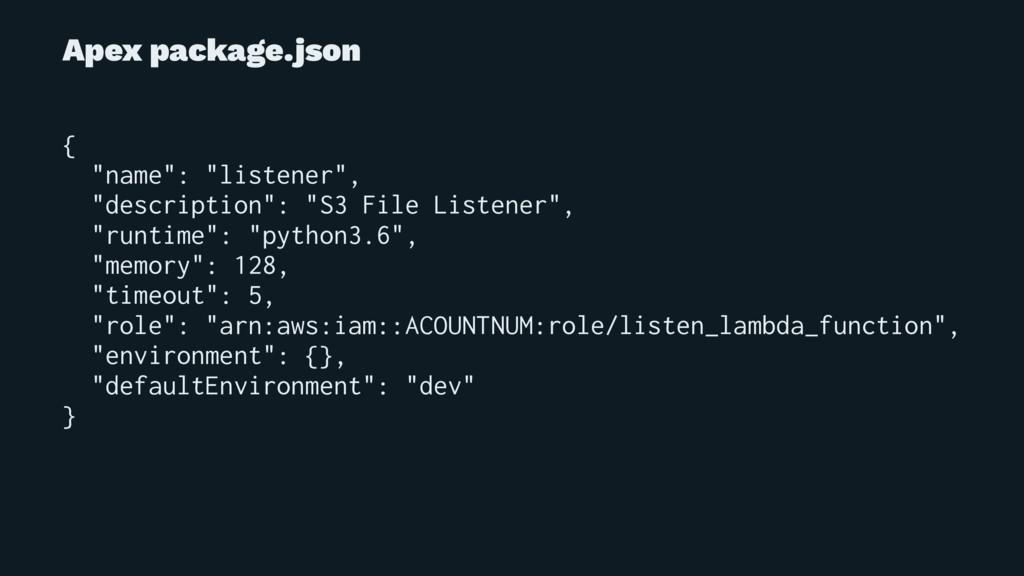 "Apex package.json { ""name"": ""listener"", ""descri..."