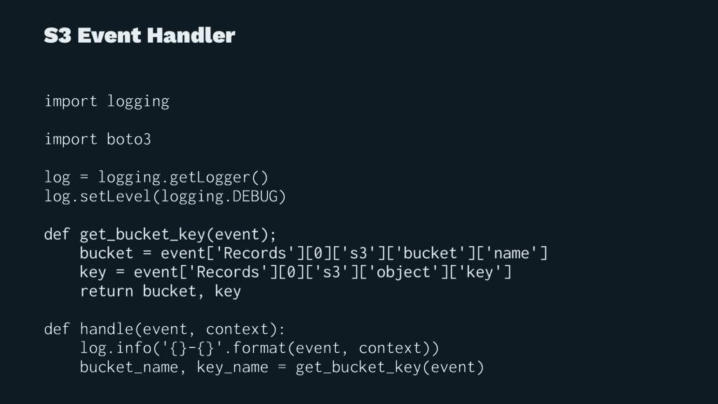 S3 Event Handler import logging import boto3 lo...