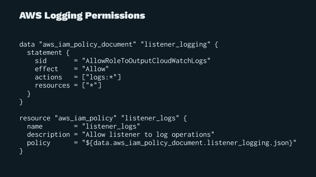 """AWS Logging Permissions data """"aws_iam_policy_do..."""