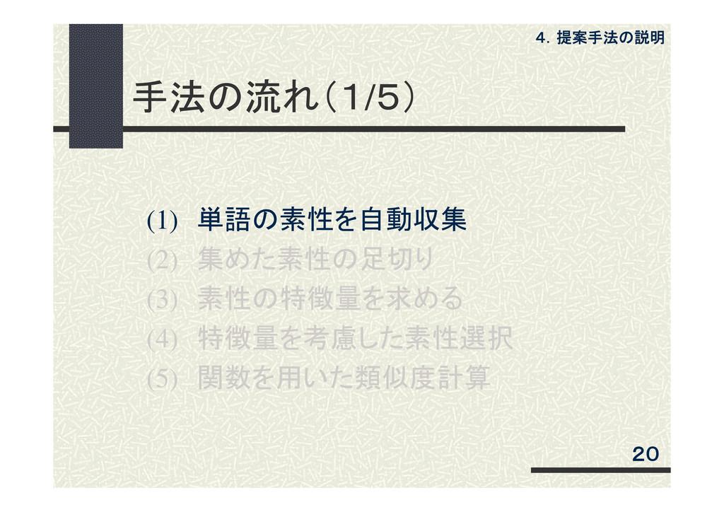 手法の流れ(1/5) (1) 単語の素性を自動収集 (2) 集めた素性の足切り (3) 素性の...