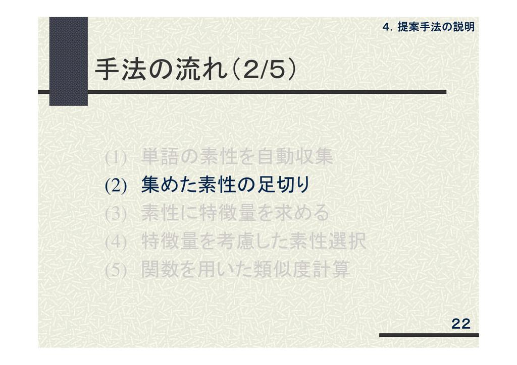 手法の流れ(2/5) (1) 単語の素性を自動収集 (2) 集めた素性の足切り (3) 素性に...