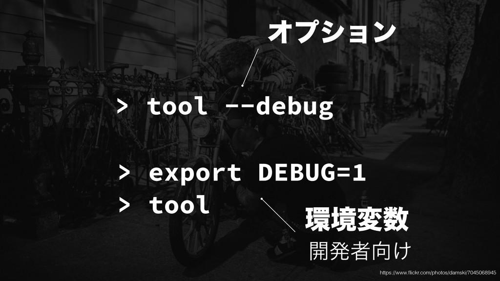 > tool --debug > export DEBUG=1 > tool Φϓγϣϯ ڥ...