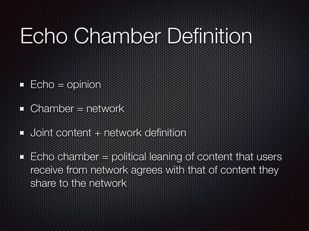 Echo Chamber Definition Echo = opinion Chamber =...