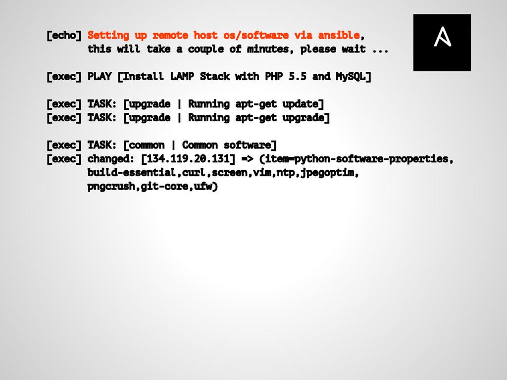 [echo] Setting up remote host os/software via a...