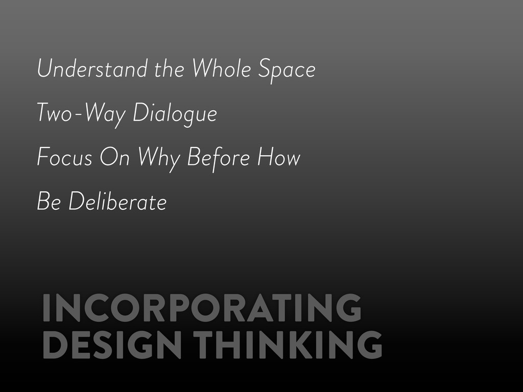 INCORPORATING DESIGN THINKING Understand the Wh...