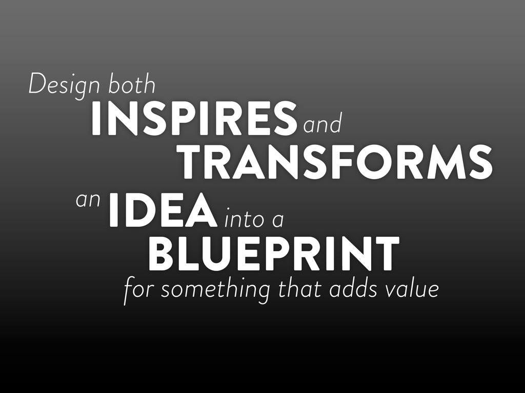 Design both TRANSFORMS INSPIRES IDEA BLUEPRINT ...