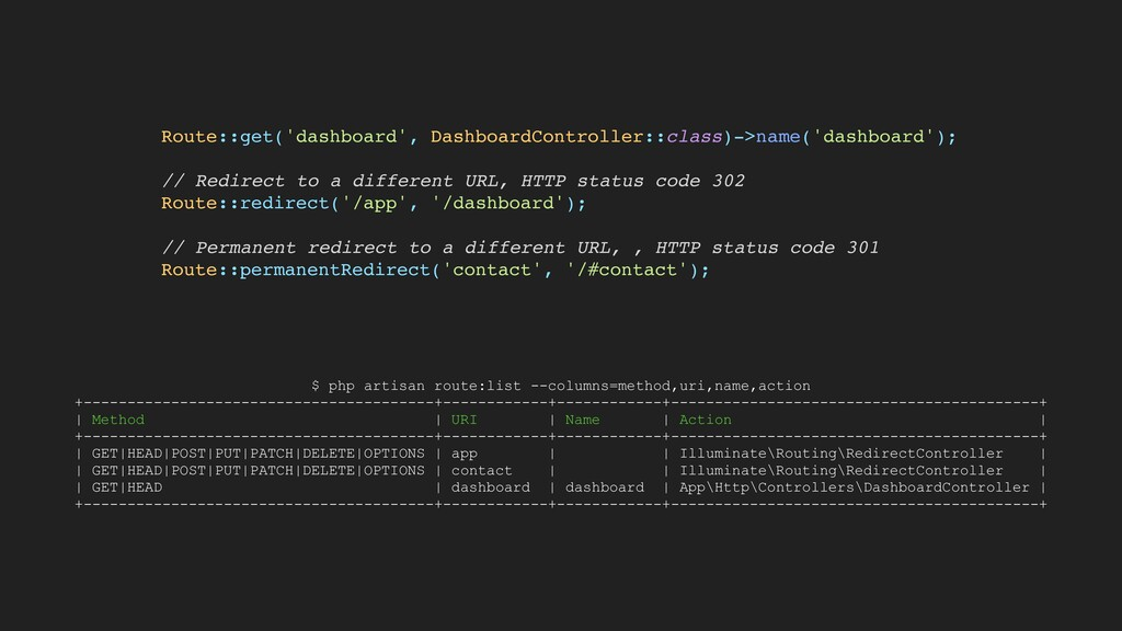 Route::get('dashboard', DashboardController::cl...