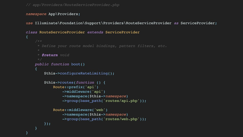 // app/Providers/RouteServiceProvider.ph p  nam...