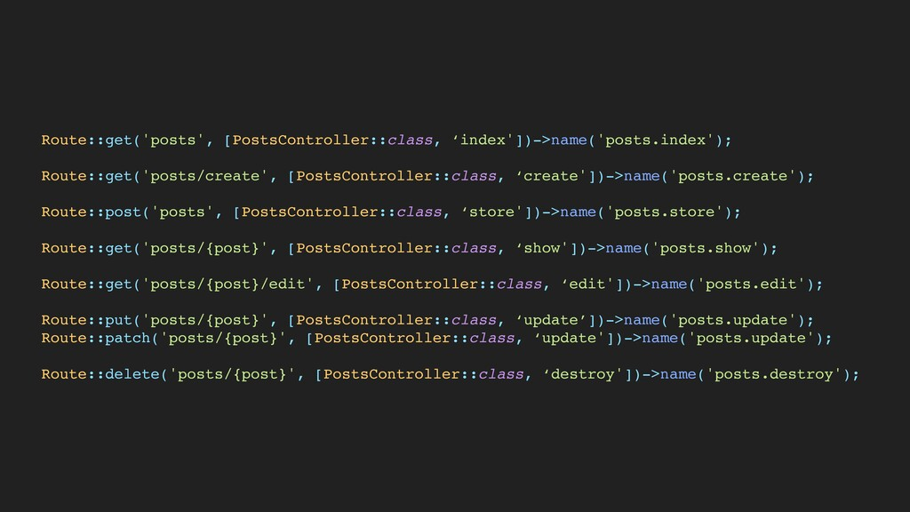 Route::get('posts', [PostsController::class, 'i...