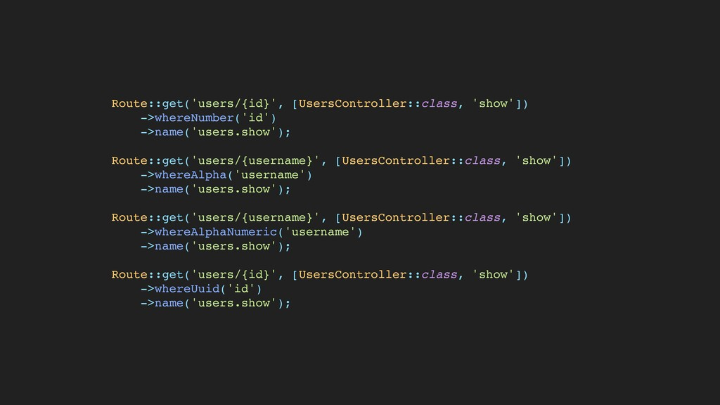 Route::get('users/{id}', [UsersController::clas...
