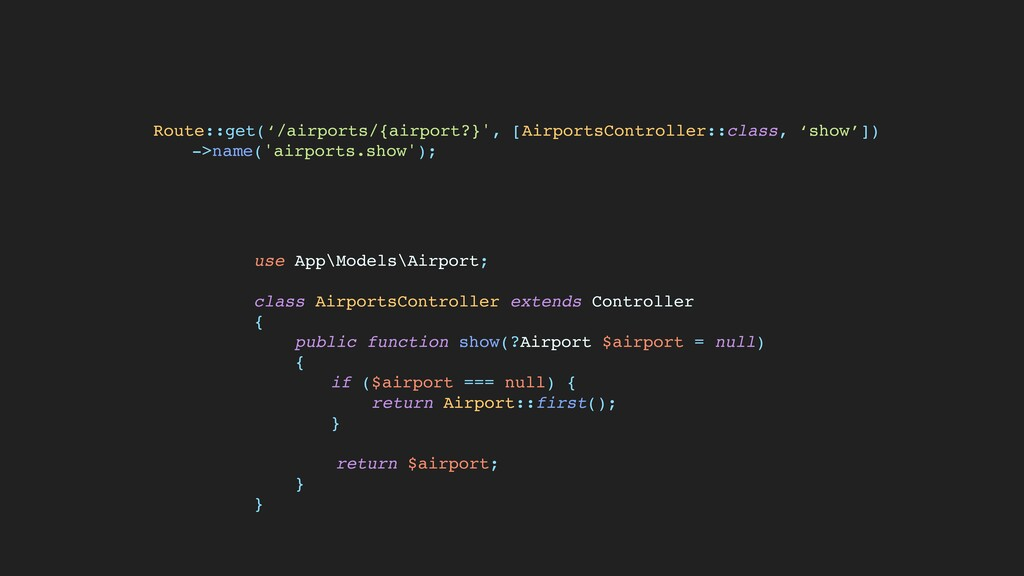 use App\Models\Airport ;  class AirportsControl...