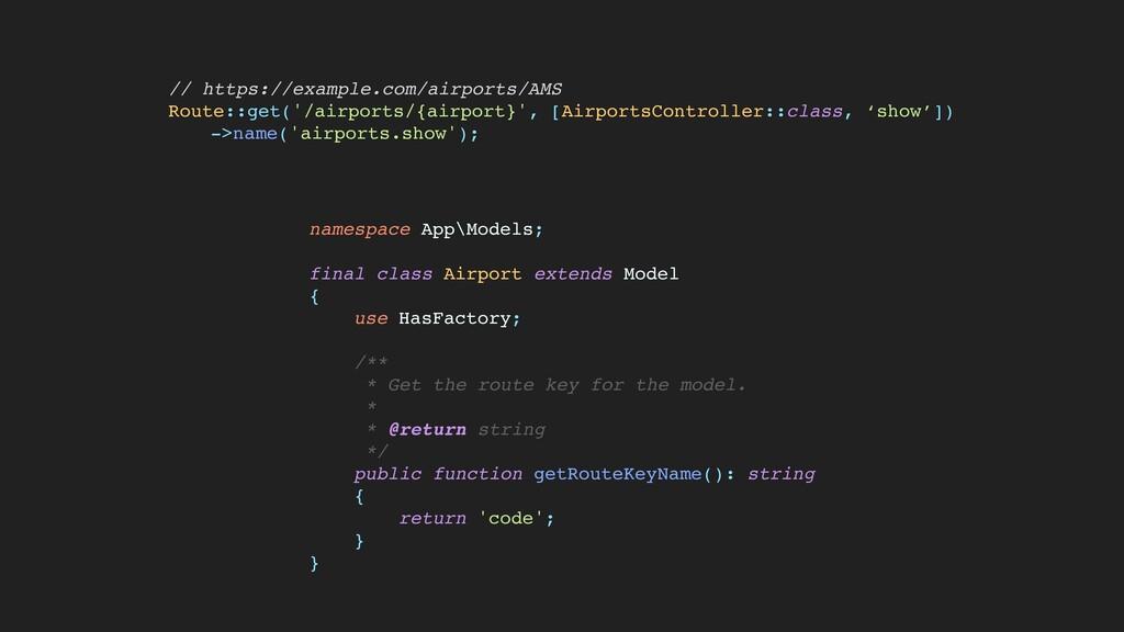namespace App\Models ;  final class Airport ext...