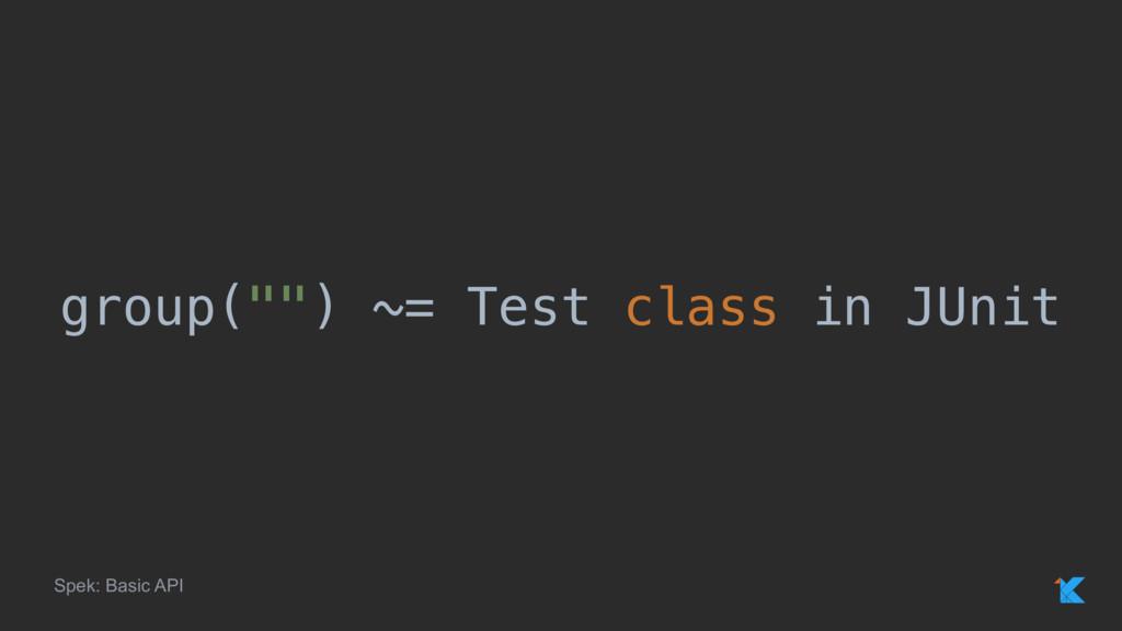 "group("""") ~= Test class in JUnit Spek: Basic API"