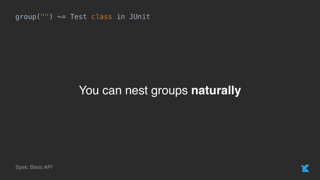 "group("""") ~= Test class in JUnit Spek: Basic AP..."