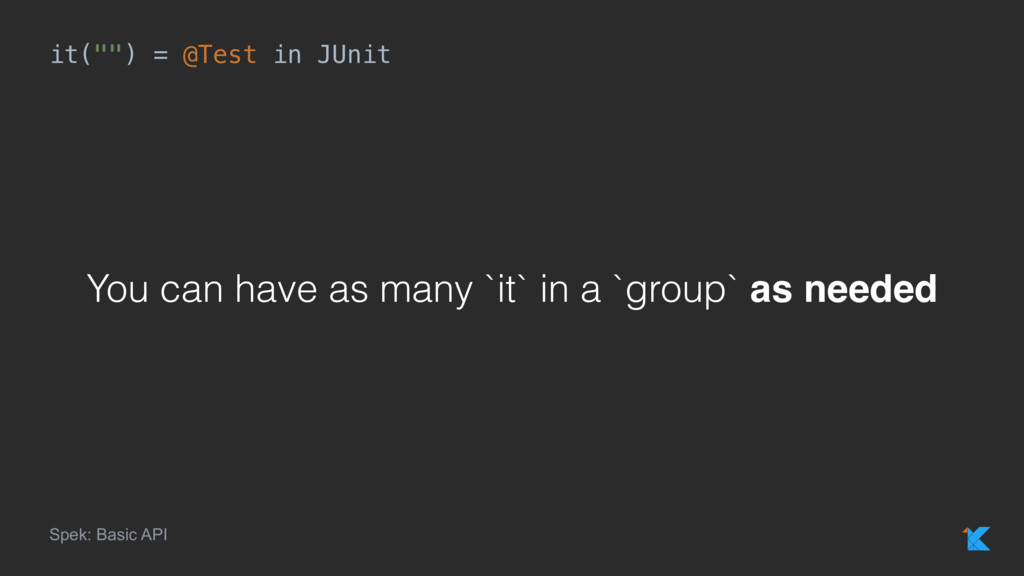 "it("""") = @Test in JUnit Spek: Basic API You can..."