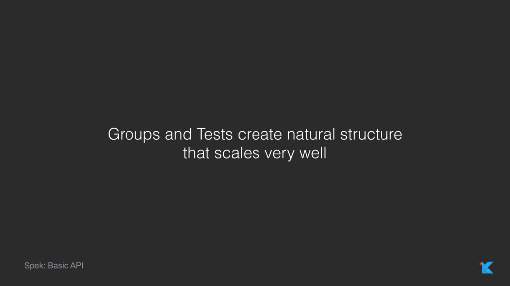 Spek: Basic API Groups and Tests create natural...